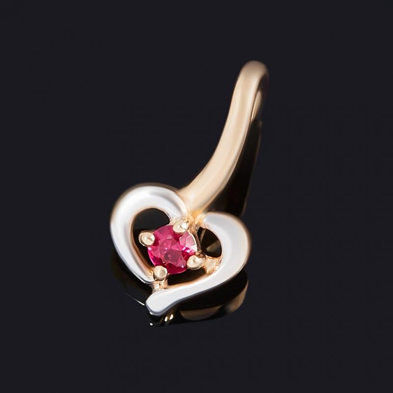 Кулон рубин Мьянма (золото 585 пр. родир. бел.) сердечко огранка