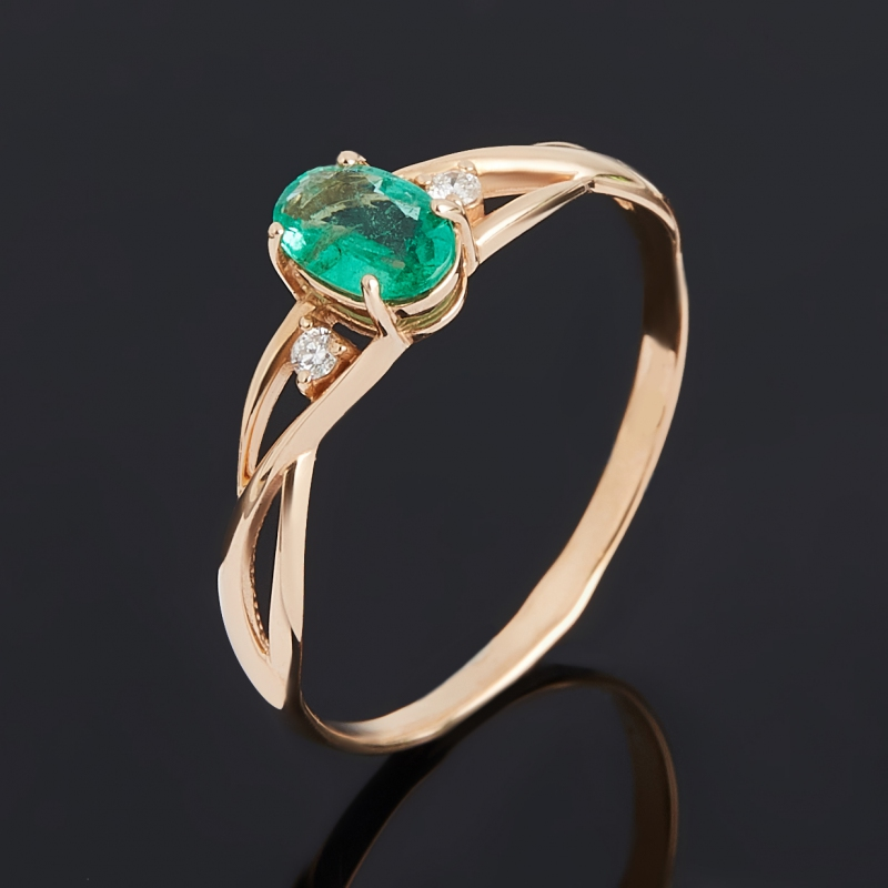 Кольцо изумруд (золото 585 пр.) огранка размер 17,5