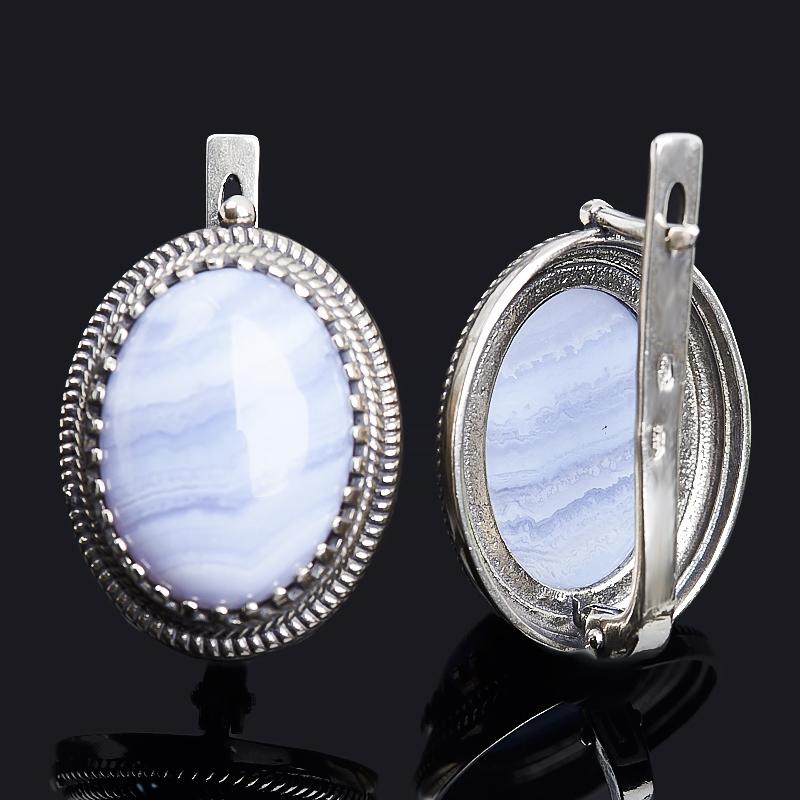 Серьги агат голубой Намибия (серебро 925 пр. оксидир.)