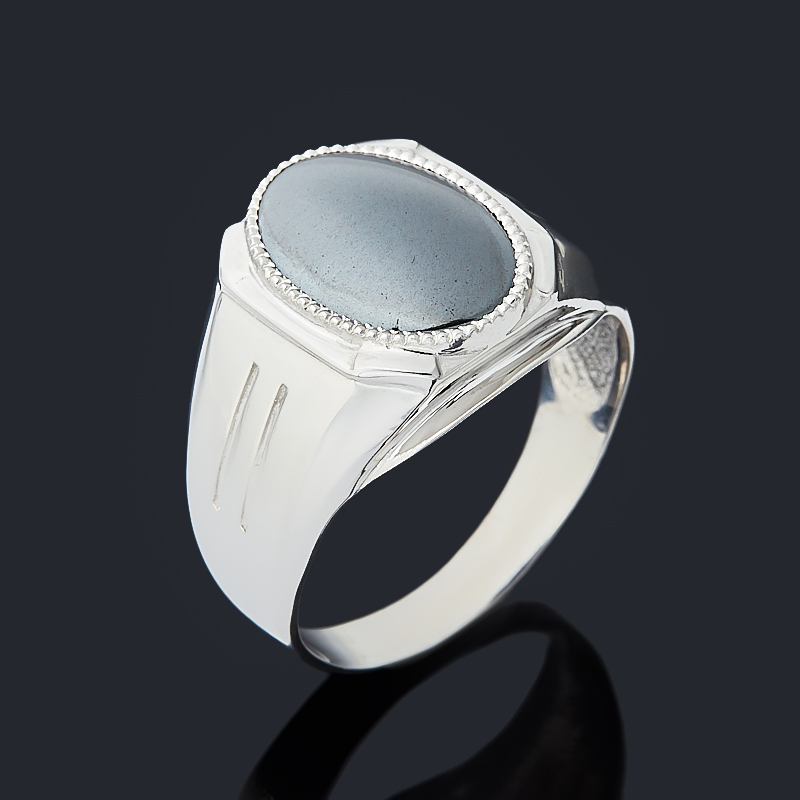 Кольцо гематит Бразилия (серебро 925 пр. родир. бел.) размер 18,5