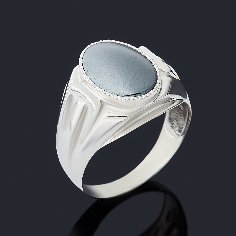 Кольцо гематит Бразилия (серебро 925 пр. родир. бел.) размер 17,5