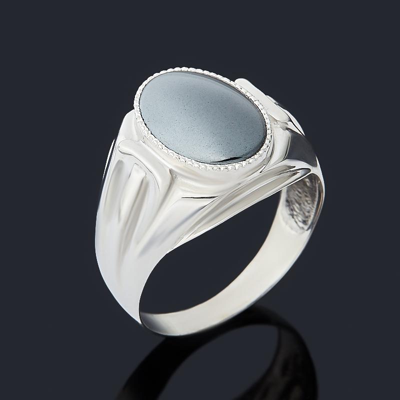 Кольцо гематит Бразилия (серебро 925 пр. родир. бел.) размер 19