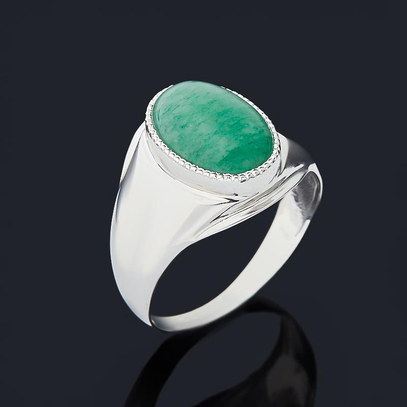 Кольцо авантюрин зеленый Индия (серебро 925 пр. родир. бел.) размер 20,5