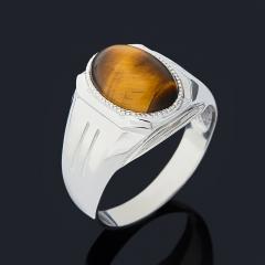 Кольцо тигровый глаз ЮАР (серебро 925 пр. родир. бел.) размер 21