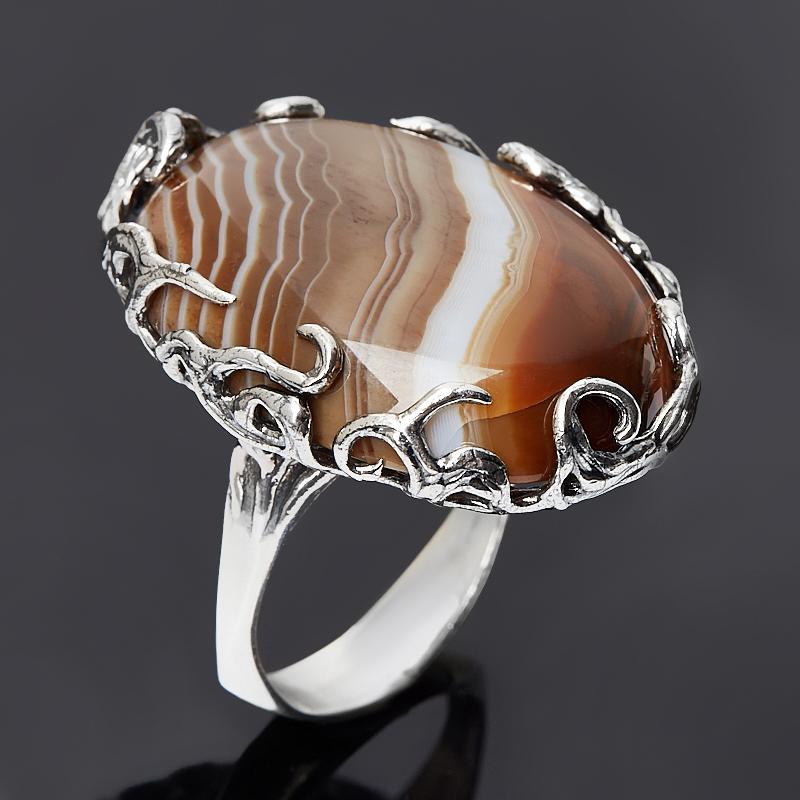 Кольцо агат серый Ботсвана (серебро 925 пр. оксидир.) размер 18,5