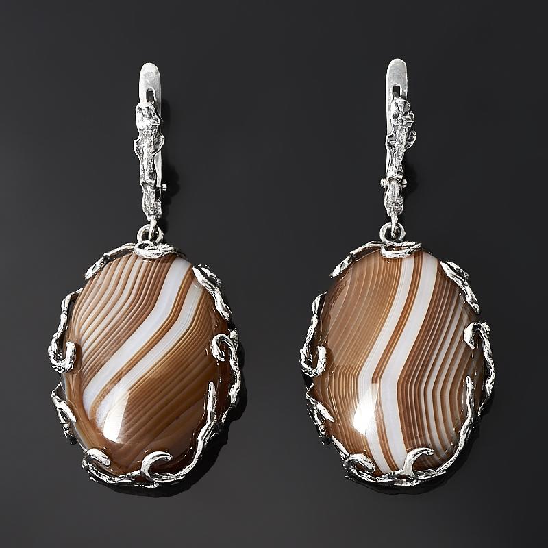 Серьги агат серый (серебро 925 пр. оксидир.) браслет агат серый серебро 925 пр 15 см 5 см