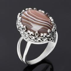 Кольцо агат серый Ботсвана (серебро 925 пр. оксидир.) размер 19