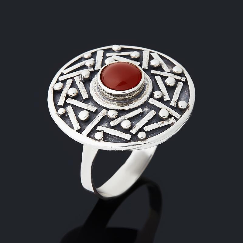 Кольцо сердолик (серебро 925 пр. оксидир.) размер 19
