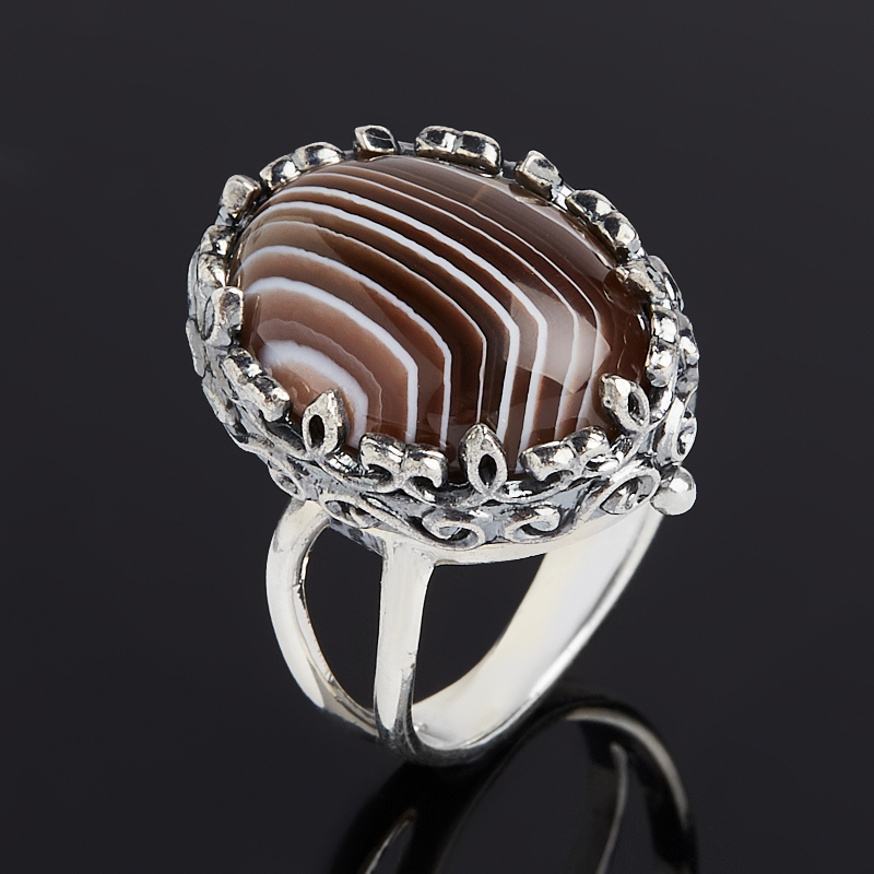 Кольцо агат серый Ботсвана (серебро 925 пр. оксидир.) размер 18