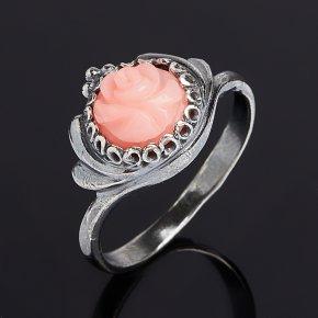 Кольцо коралл розовый Индонезия (серебро 925 пр. родир. черн.) размер 17,5