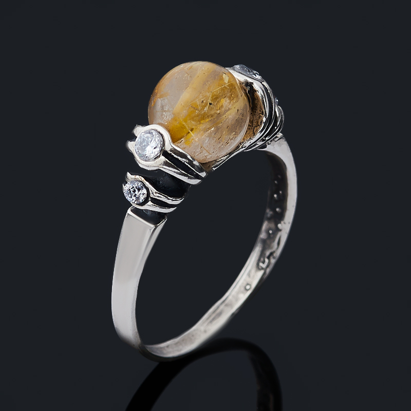 Кольцо рутиловый кварц (серебро 925 пр. оксидир.) размер 16,5 стоимость