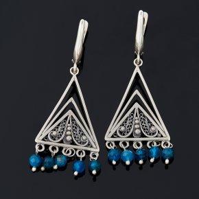 Серьги апатит синий Бразилия (серебро 925 пр. оксидир.) огранка