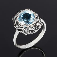 Кольцо топаз голубой Бразилия (серебро 925 пр. оксидир.) огранка размер 18,5