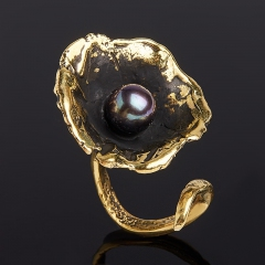 Кольцо жемчуг черный Гонконг (бронза) размер 18,5 (регулируемый)