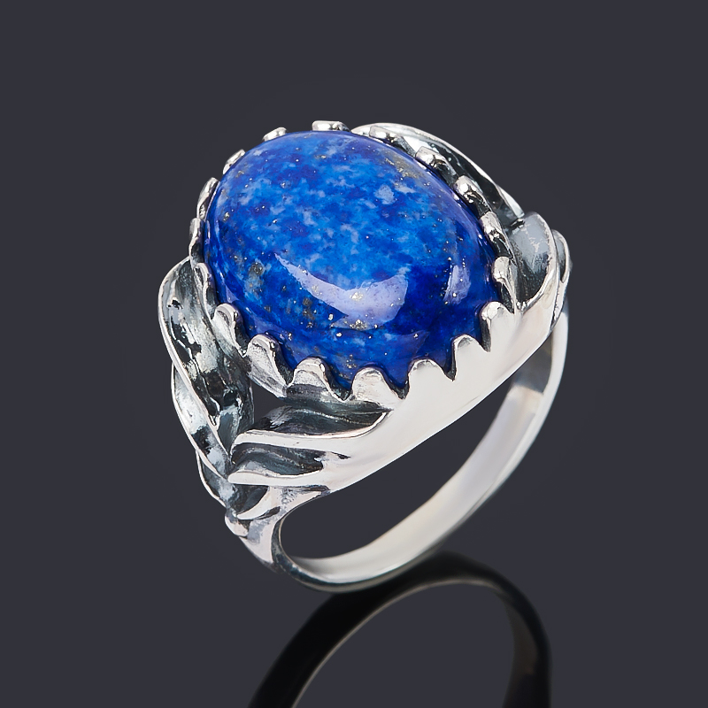 Кольцо лазурит Афганистан (серебро 925 пр. оксидир.) размер 18,5