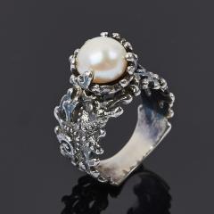 Кольцо жемчуг белый Гонконг (серебро 925 пр. оксидир.) размер 18,5