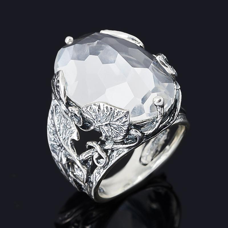 Кольцо горный хрусталь Бразилия (серебро 925 пр. оксидир.) огранка размер 19
