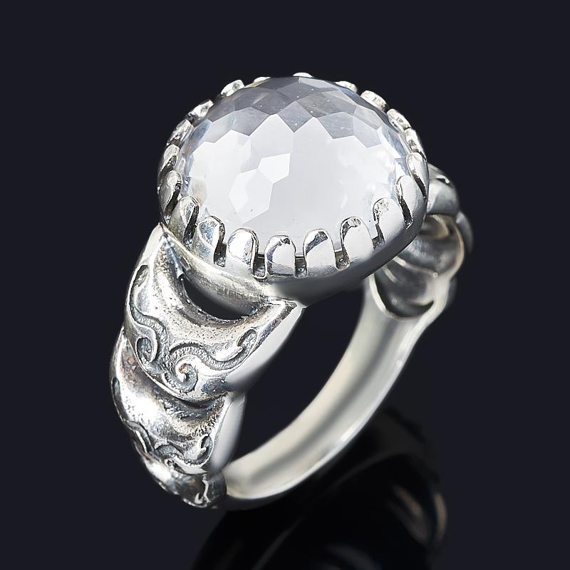 Кольцо горный хрусталь Бразилия (серебро 925 пр. оксидир.) огранка размер 17