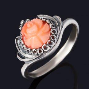 Кольцо коралл розовый Индонезия (серебро 925 пр. оксидир.) размер 17