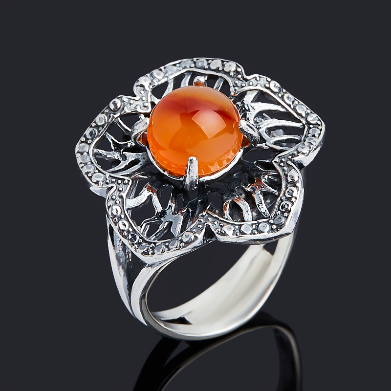Кольцо сердолик (серебро 925 пр. оксидир.) размер 17,5