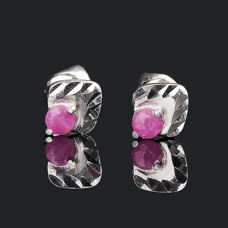 Серьги рубин Мьянма (серебро 925 пр. родир. бел.) пуссеты огранка