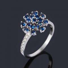 Кольцо сапфир Индия (серебро 925 пр. родир. бел.) огранка размер 17,5