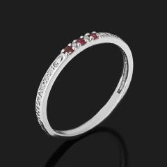 Кольцо Спаси и Сохрани рубин Мьянма (серебро 925 пр. родир. бел.) огранка размер 17,5