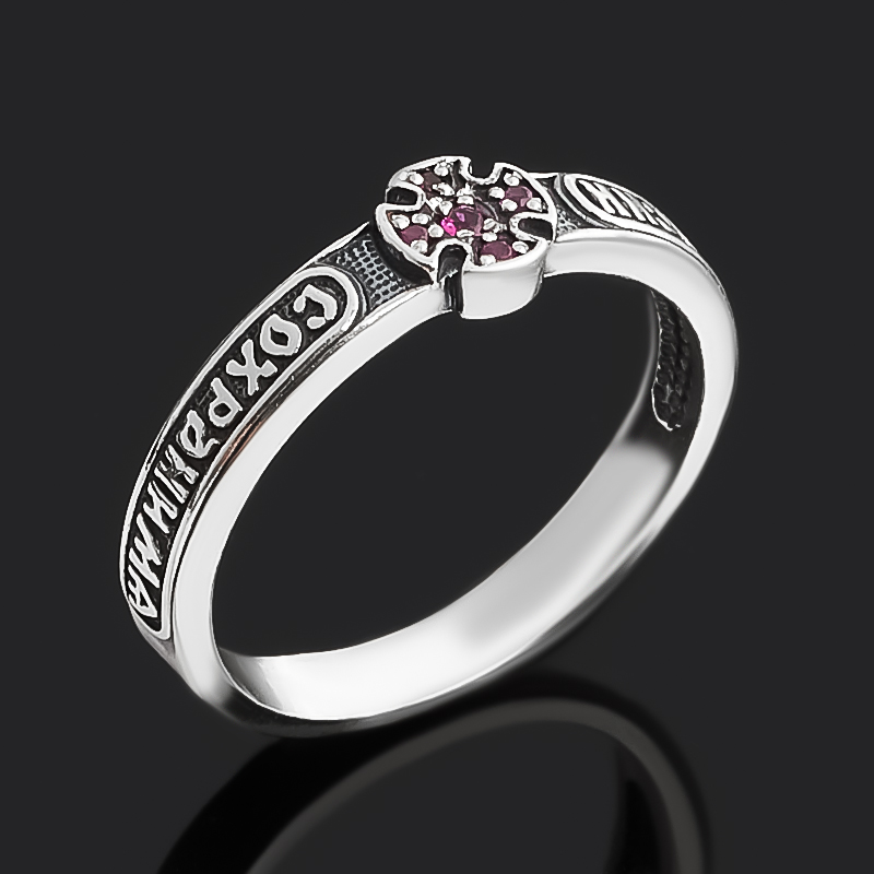 Кольцо рубин Мьянма огранка (серебро 925 пр. оксидир. родир. бел.) Спаси и сохрани размер 16