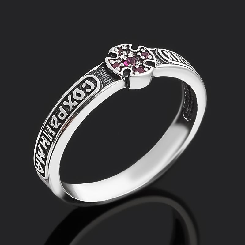 Кольцо рубин Мьянма огранка (серебро 925 пр. оксидир. родир. бел.) Спаси и сохрани размер 19