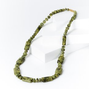 Бусы змеевик Россия (биж. сплав) длинные 62 см