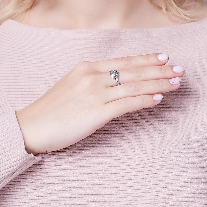 Кольцо Спаси и Сохрани изумруд Колумбия (серебро 925 пр. родир. бел.) огранка размер 15,5