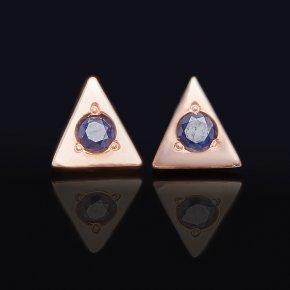 Серьги сапфир черный Индия (серебро 925 пр. позолота) пуссеты огранка