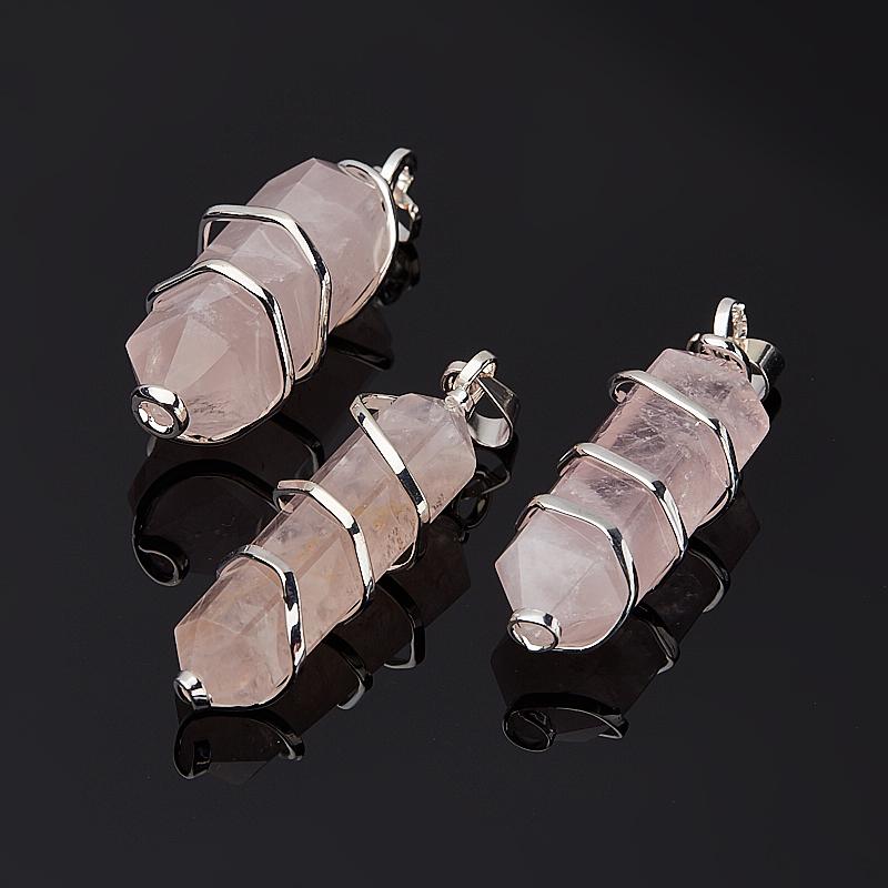 Кулон кристалл розовый кварц Намибия 4-6 см