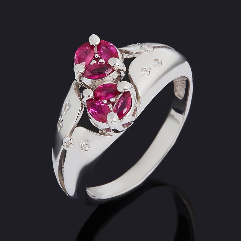 Кольцо рубин (серебро 925 пр. родир. бел.) огранка размер 17 кольцо спаси и сохрани рубин огранка серебро 925 пр размер 16 5