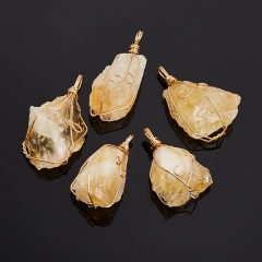 Кулон цитрин Бразилия кристалл (биж. сплав) 4-5 см