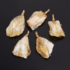 Кулон цитрин Бразилия кристалл (биж. сплав) 5-6 см