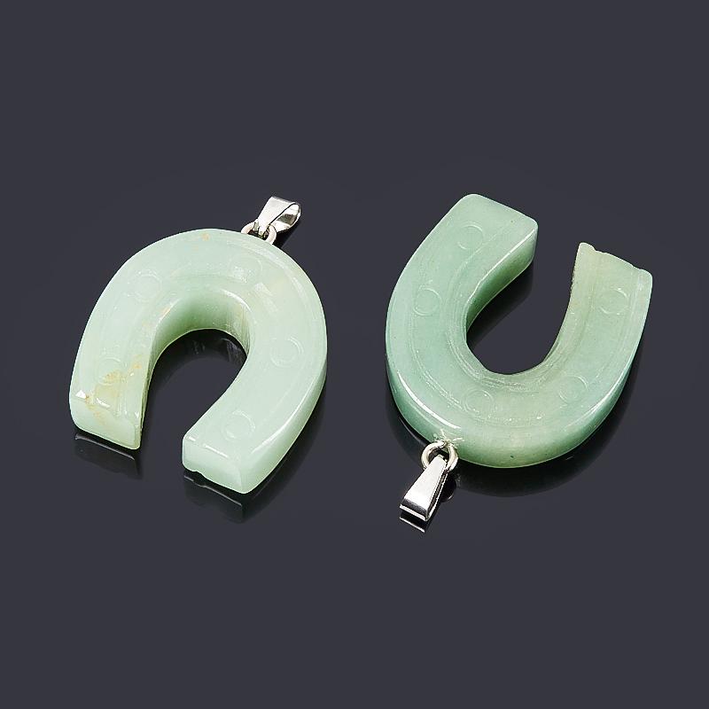 Кулон подкова авантюрин зеленый Зимбабве (биж. сплав) 4 см