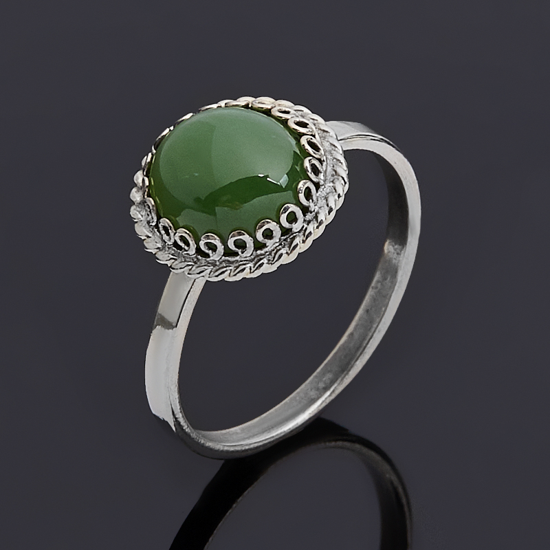 Кольцо нефрит зеленый Россия (нейзильбер) размер 18