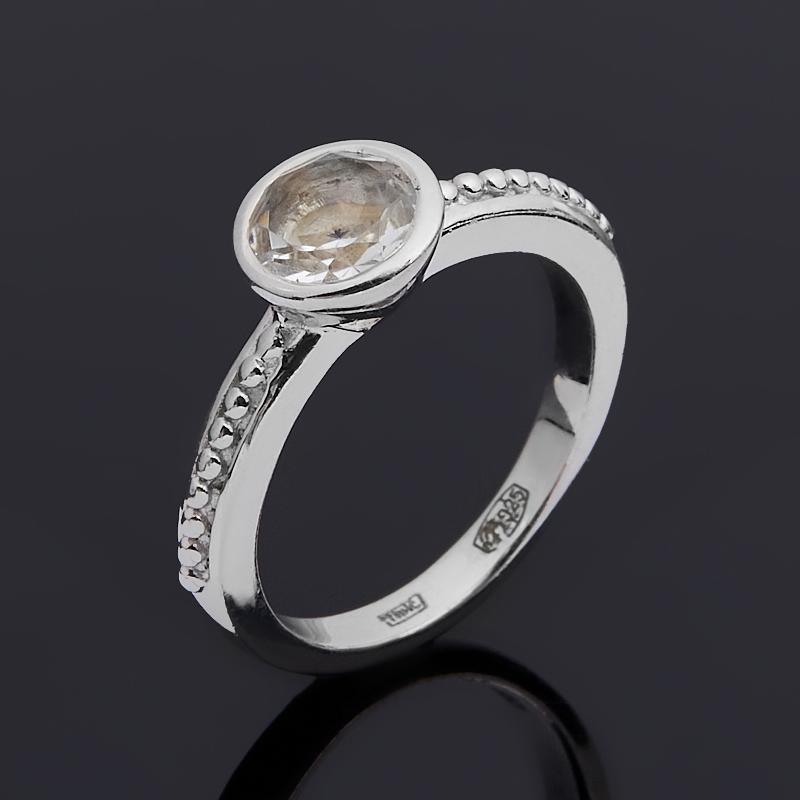 Кольцо горный хрусталь Бразилия (серебро 925 пр. родир. бел.) огранка размер 18,5