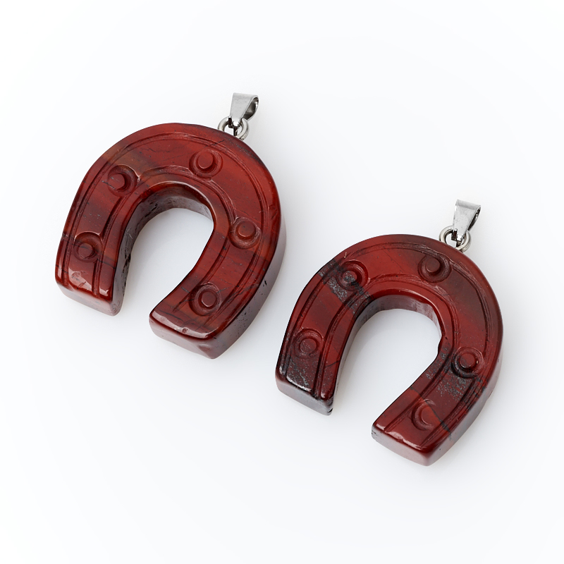 Кулон подкова яшма красная (биж. сплав) 4-4,5 см кулон яшма красная трикветр биж сплав 4 4 5 см