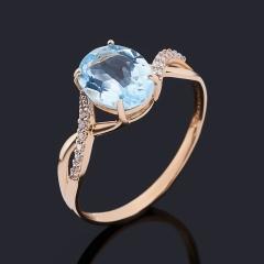 Кольцо топаз голубой Бразилия (золото 585 пр.) огранка размер 18,5