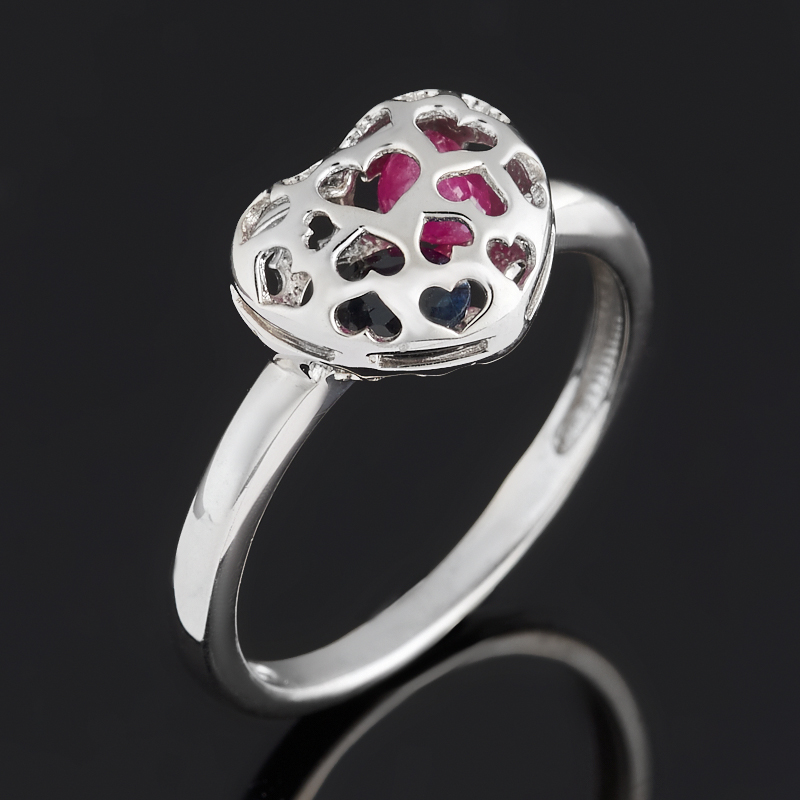 Кольцо микс рубин, сапфир черный (серебро 925 пр. родир. бел.) огранка размер 20,5