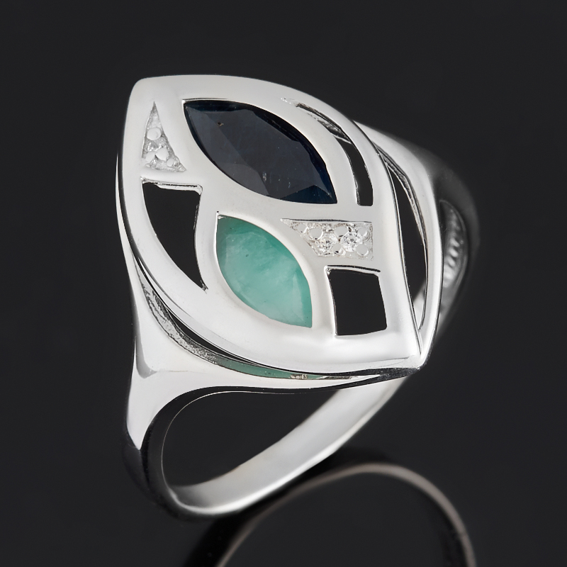 Кольцо микс изумруд, сапфир черный (серебро 925 пр. родир. бел.) огранка размер 20