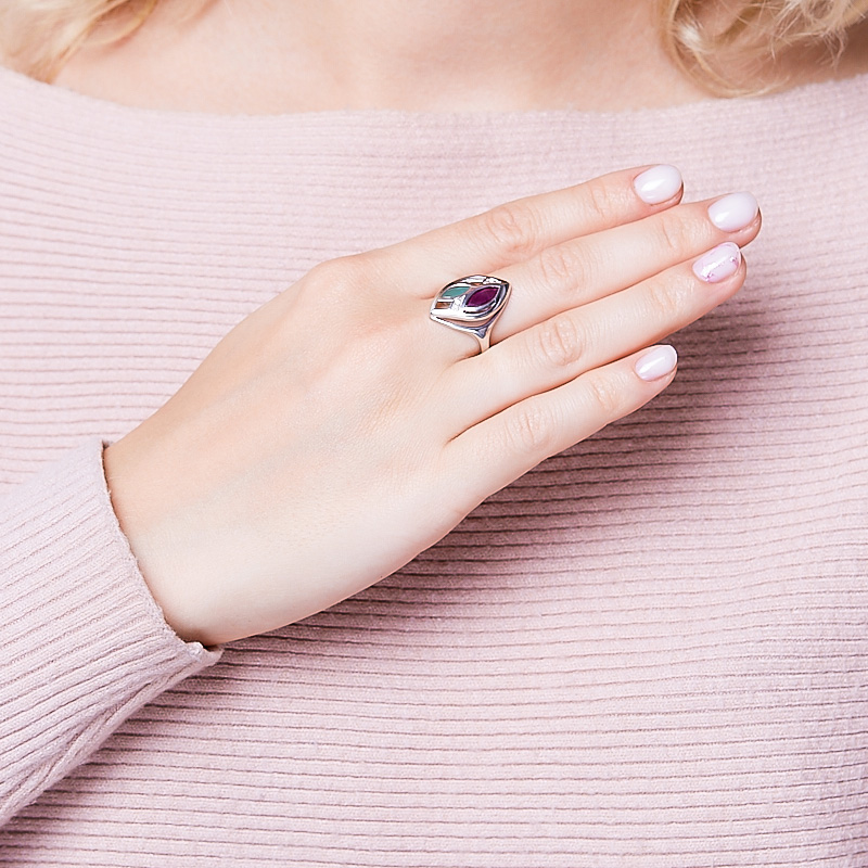 Кольцо микс изумруд, рубин (серебро 925 пр. родир. бел.) огранка размер 16,5