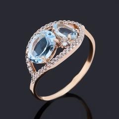 Кольцо топаз голубой Бразилия (золото 585 пр.) огранка размер 17