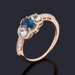 Кольцо топаз голубой, лондон Бразилия (золото 585 пр.) огранка размер 16,5