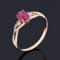 Кольцо рубин Мьянма (золото 585 пр.) огранка размер 18