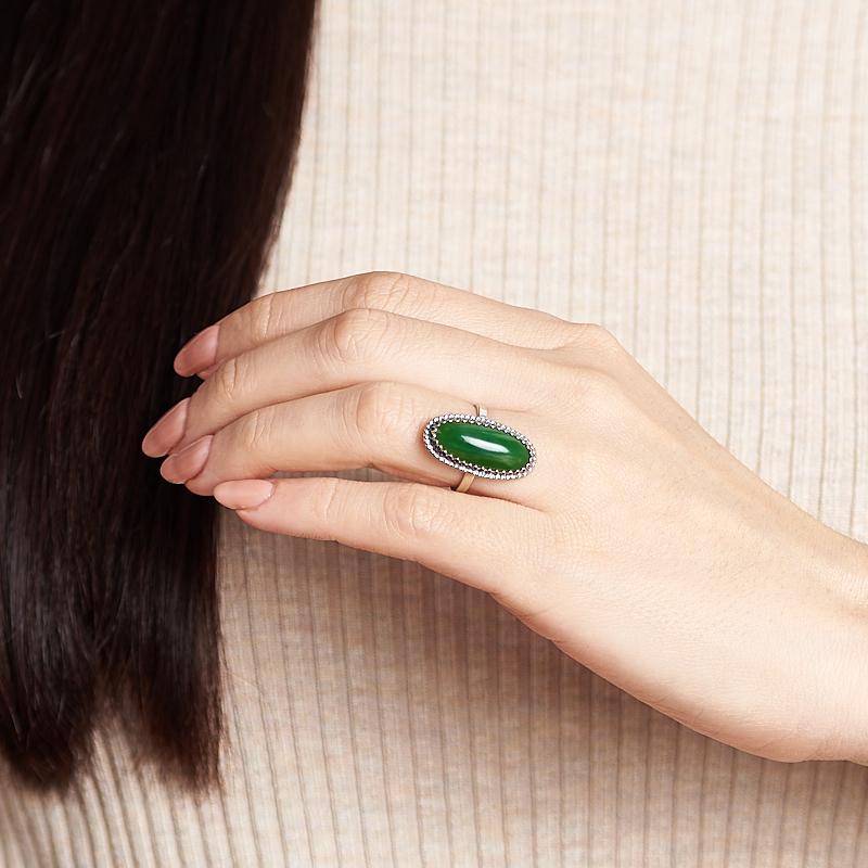 Кольцо нефрит зеленый Россия (нейзильбер) размер 16