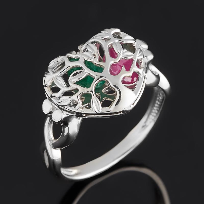 Кольцо микс изумруд, рубин (серебро 925 пр. родир. бел.) огранка размер 17