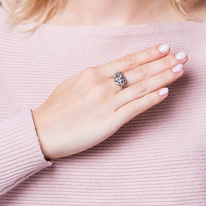 Кольцо микс изумруд, рубин (серебро 925 пр. родир. бел.) огранка размер 18
